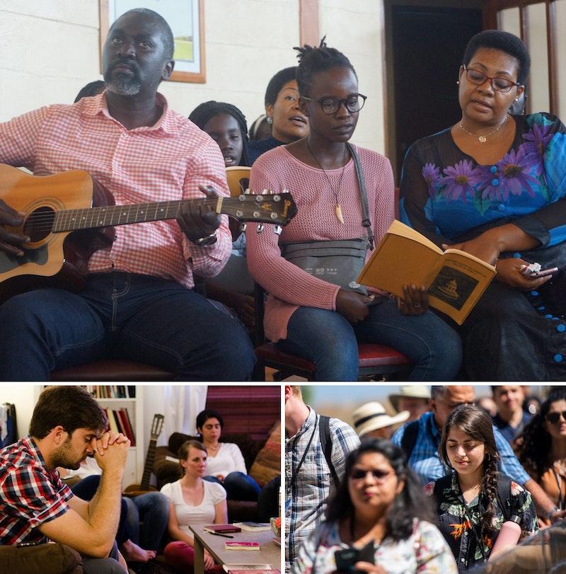 various images showing believers praying