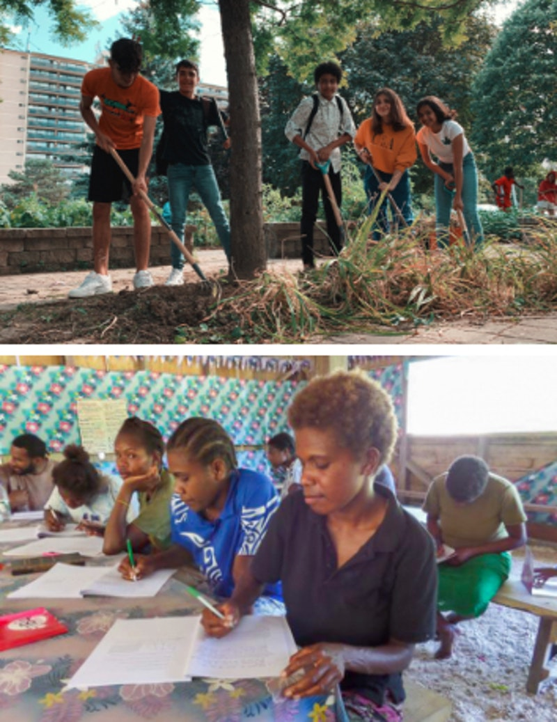 youth planting trees in the city and youth writing a test