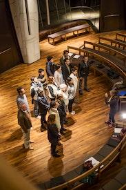 Répétition de chorale à la Maison d'adoration de Santiago, au Chili
