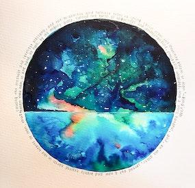 Aquarelle inspirée des écrits de Bahá'u'lláh